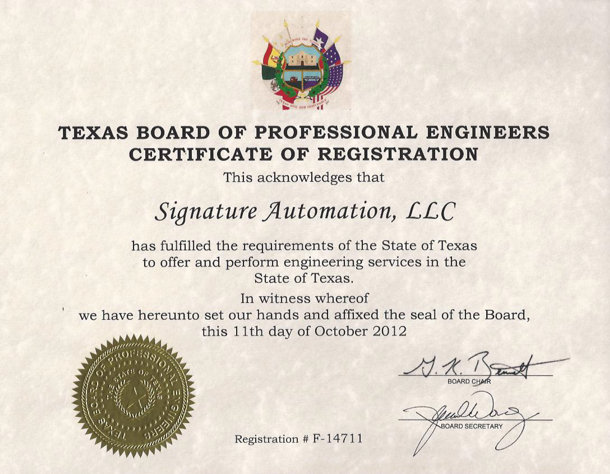 Certificates signature automation engineering dallas tx texas board of professional engineers firm registration xflitez Gallery